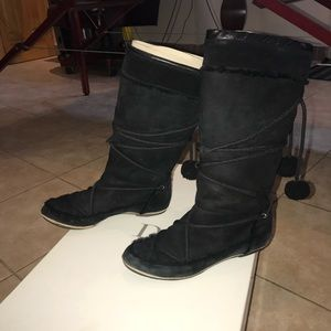 Christian Dior Fur lined Snow Boots Black